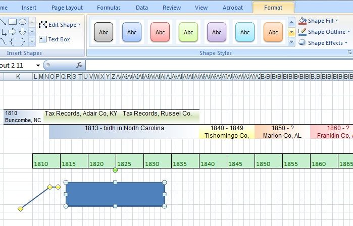 Timeline In Excel  Part   Timeline Genealogy And Family History