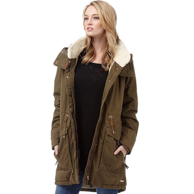 Bench Womens Relator Jacket Khaki Bench lightly padded parka style ...