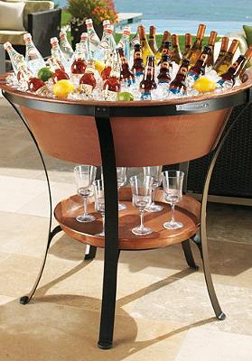 Estate Copper Beverage Tub And Stand.