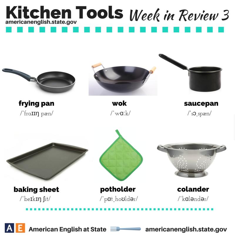 American english at state english pinterest english for Kitchen utensils vocabulary