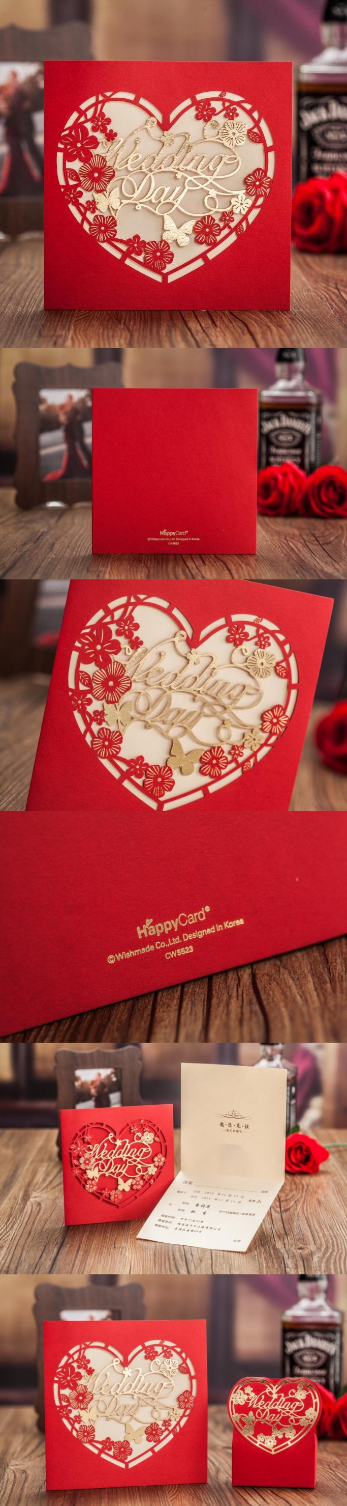 CW5523 Red Round LOVE Heart Laser Cut Wedding Invitation Card Global ...