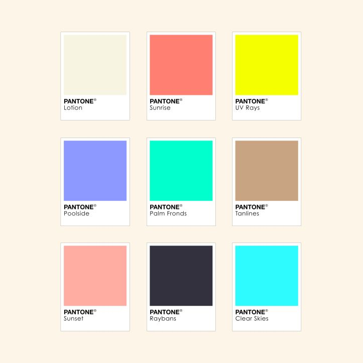 Designers Summer Pantone Colours Inspiration Wesley Bird Bright Neon Cool Colour Pallete Designer Illustrator Freelancer