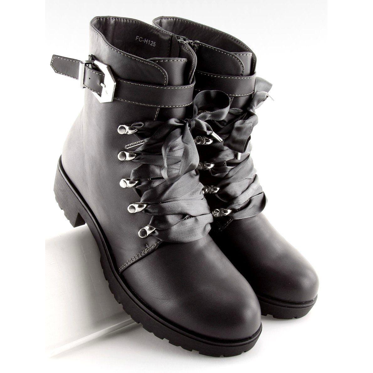 499a1ef33038e Botki glany wstążka szare FC-H125 Grey   Botki damskie   Shoes ...