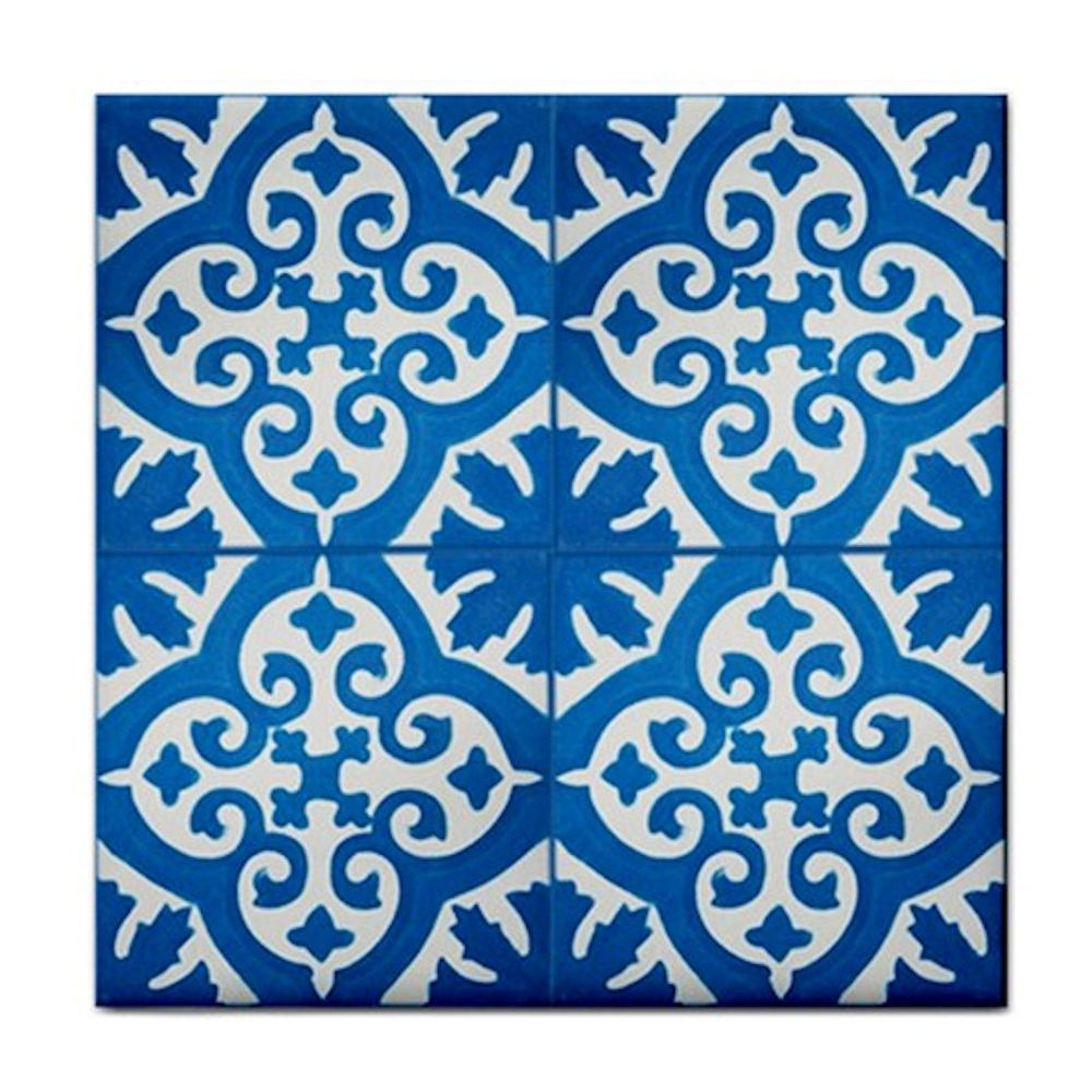 BLUE FILIGREE PATTERN~BATHROOM DECOR CERAMIC WALL TILE/ BBQ PATIO ...