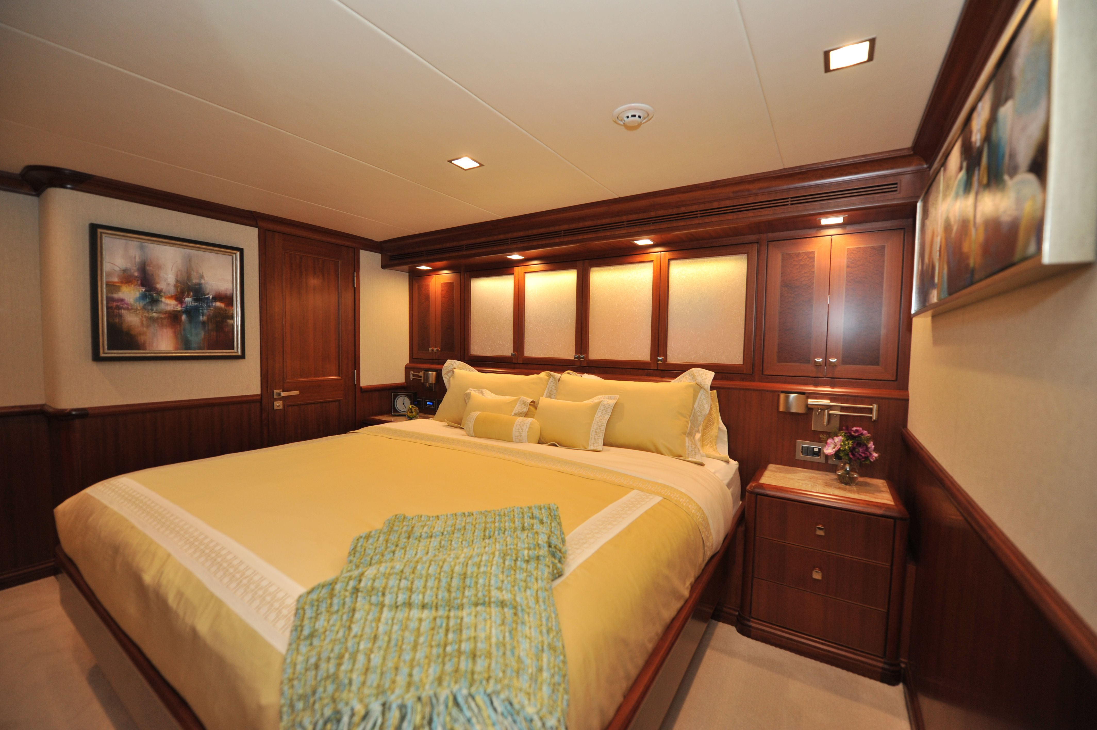Nordhavn 120-Fwd King Stateroom-Custom Yacht Interior Design-Destry Darr Designs