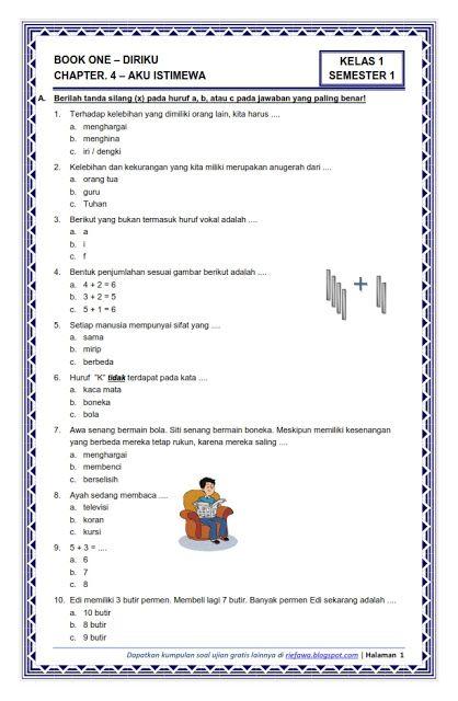 Download Soal Kurikulum 2013 Kelas 1 Semester 1 Tema 1 ...