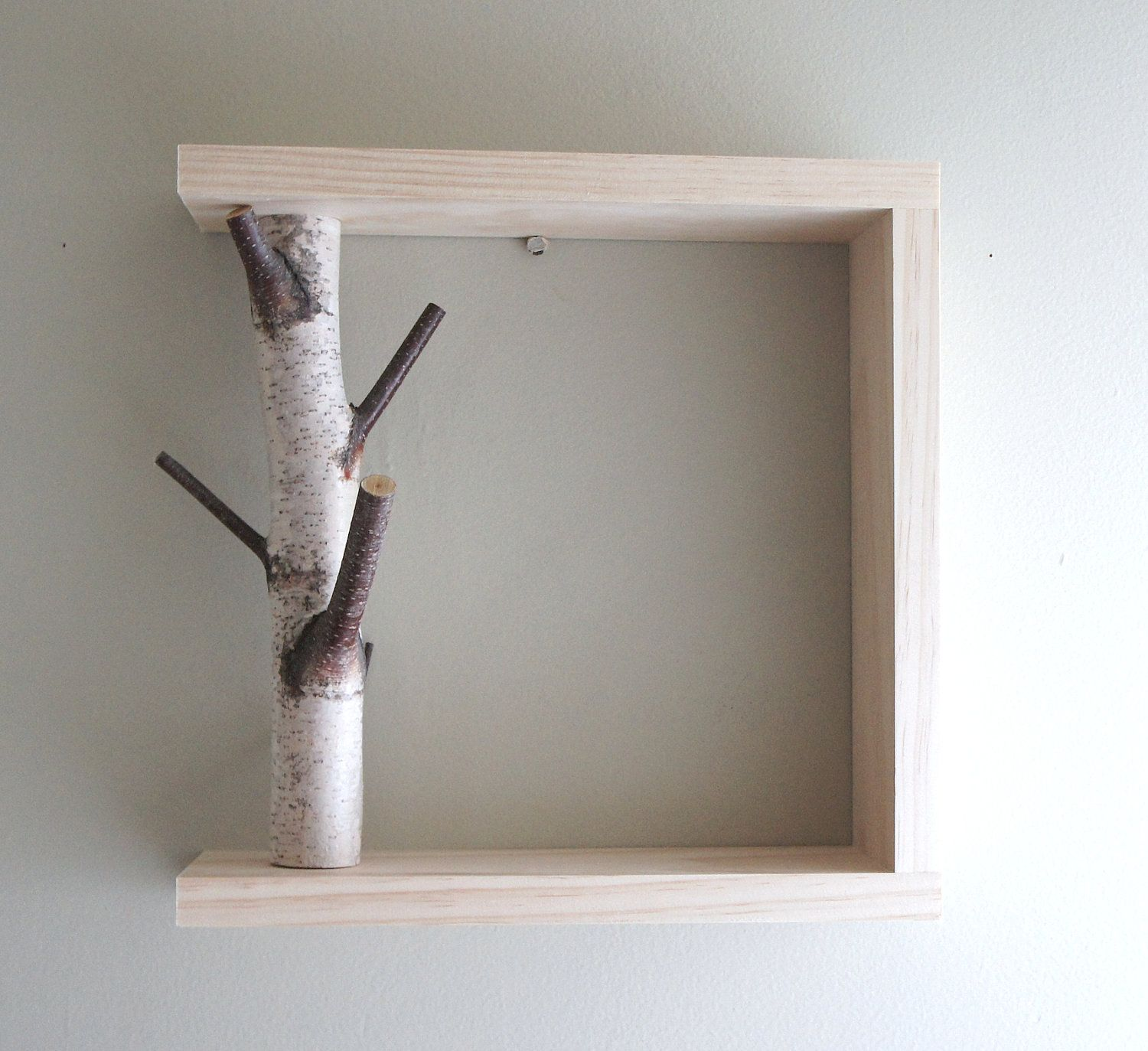 White Birch Forest Wall Artshelf  12X12, Birch Shelf, Wooden