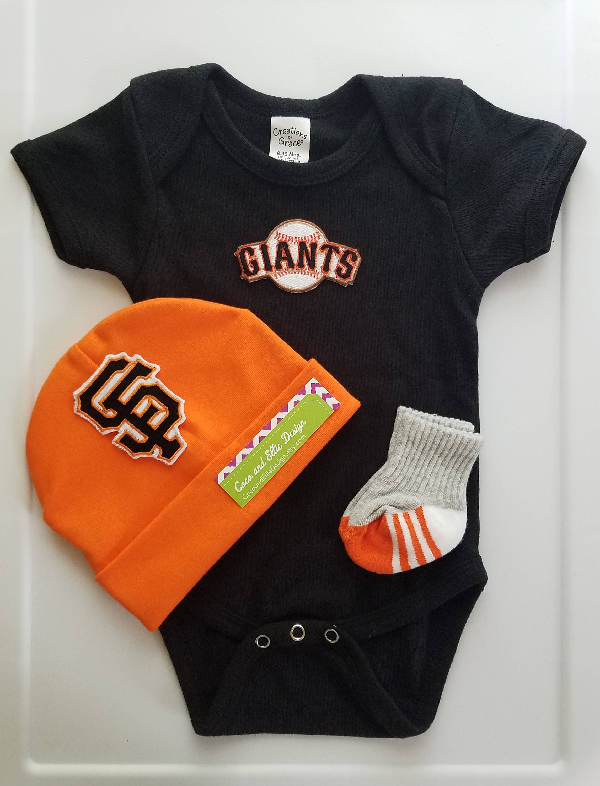 san francisco giants boy outfit with hat-sf giants romper sf giants bodysuit -baby boy sf giants outfit-san francisco giants gift for baby by ... 27b46d45c