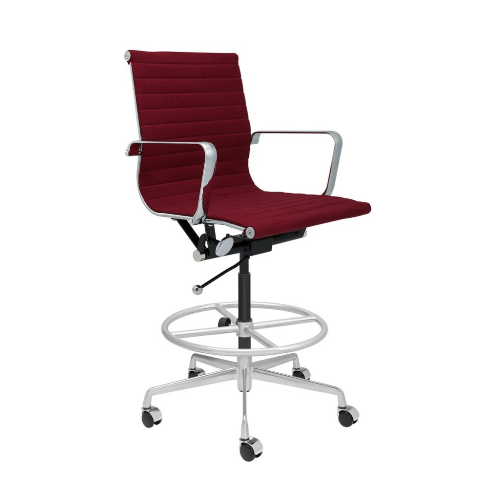 Soho Ribbed Drafting Chair Maroon Fabric Drafting Chair