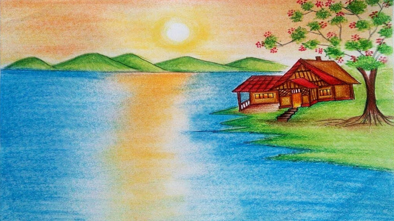 Drawing Paint Natural Scenery How To Paint Nature Scenery With Nature Drawing Drawing Scenery Pictures To Draw