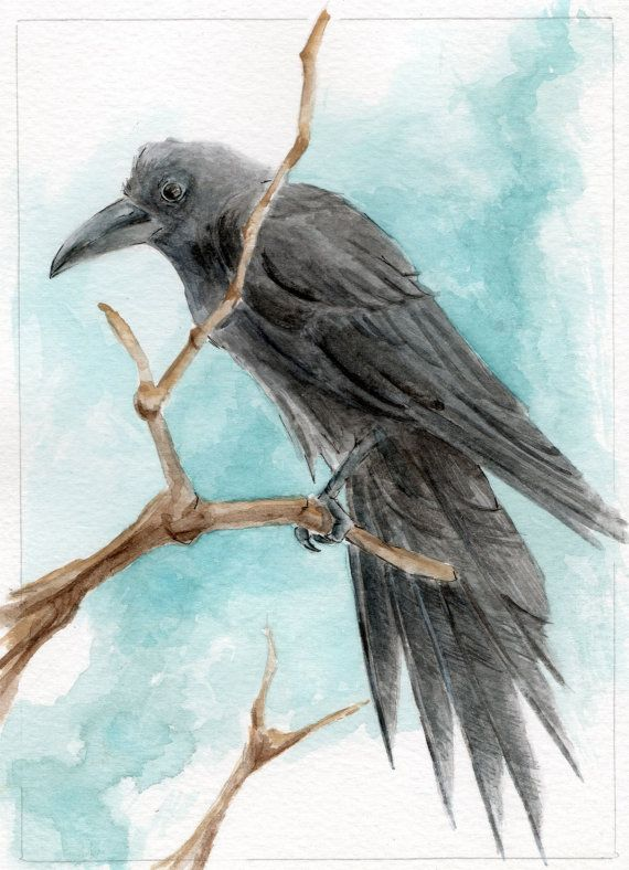 Raven Watercolor Painting by KetturahsArt on Etsy, $30.00