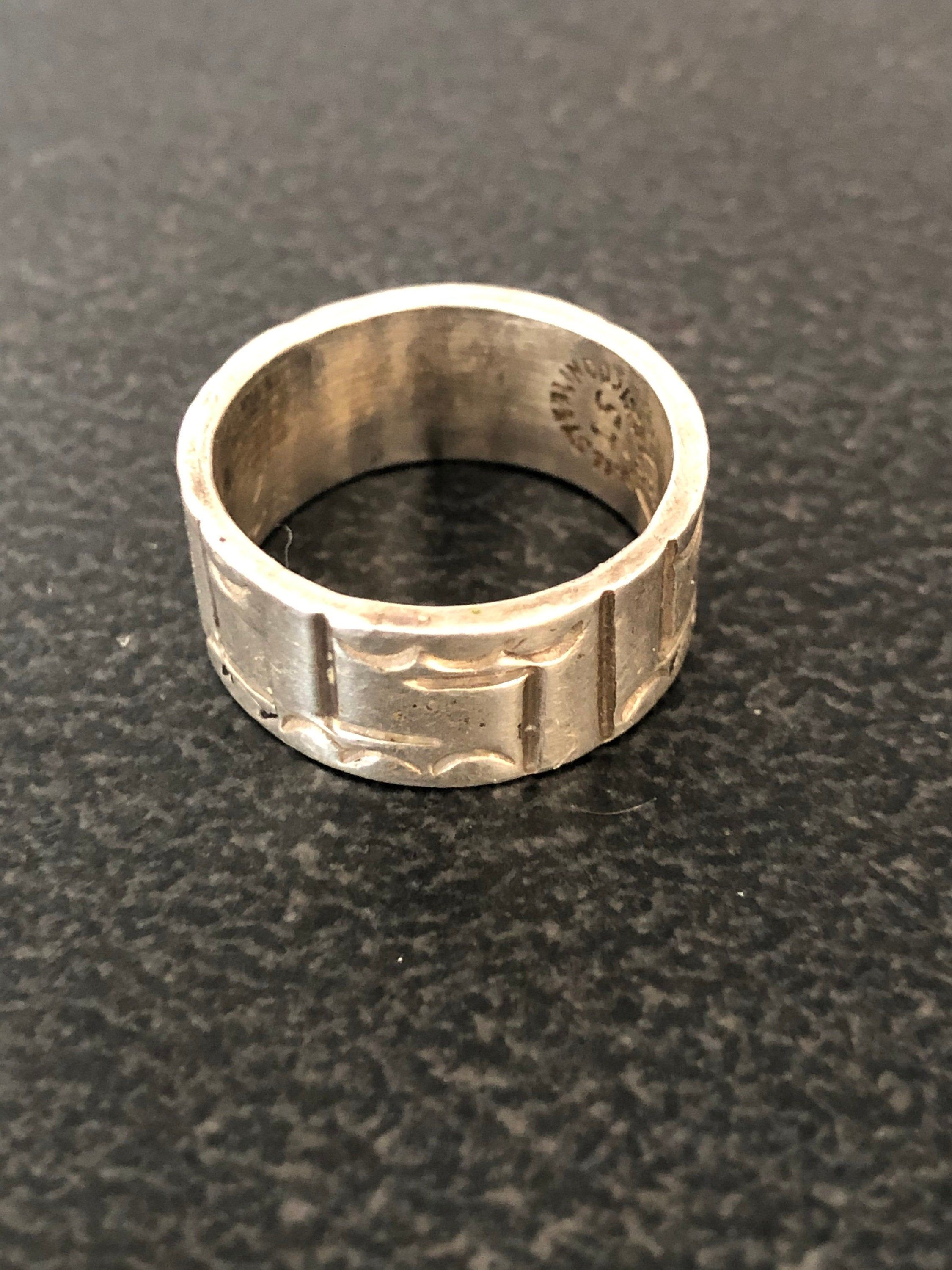 VINTAGE TAXCO Mexican Sterling Silver RARE Wide Band