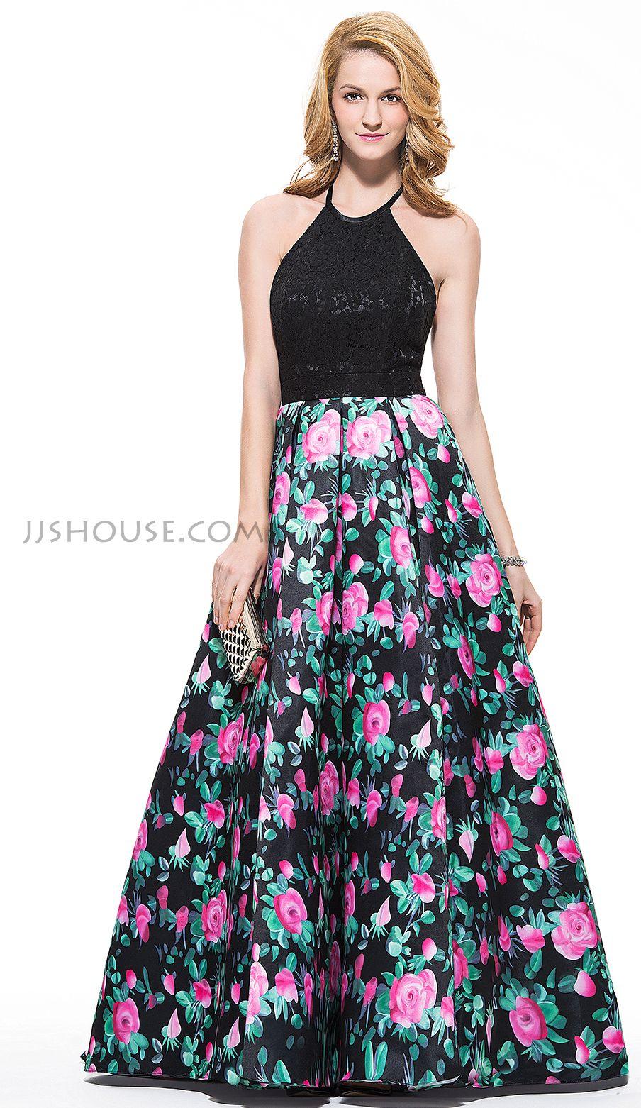 Ballgown halter sweep train lace prom dresses jjus