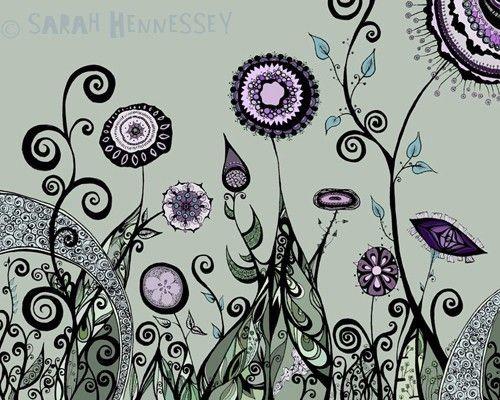 Surreal Garden Landscape in Sage Green Lavender by sometimesiswirl