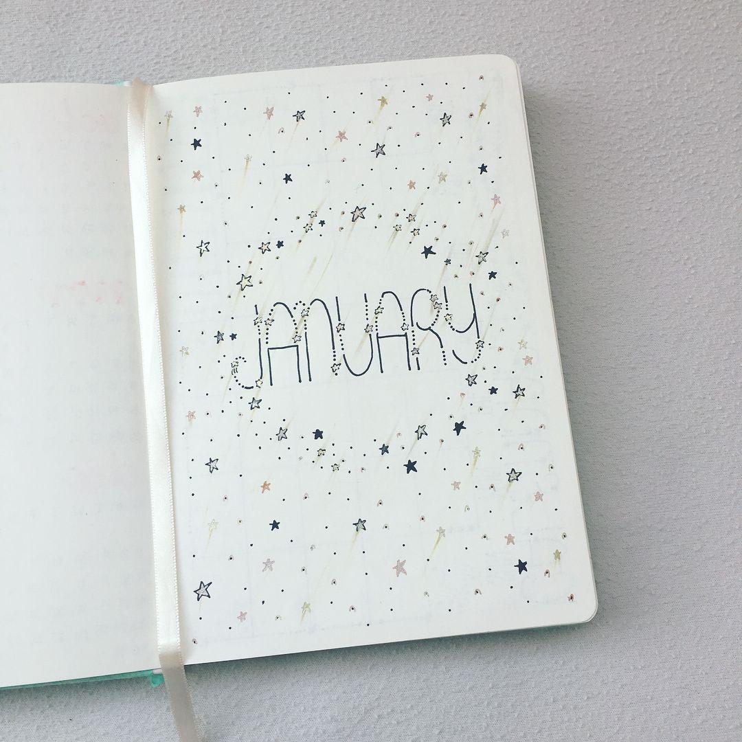 2018 Bullet Journal January Spread Stars Theme Bullet Journal
