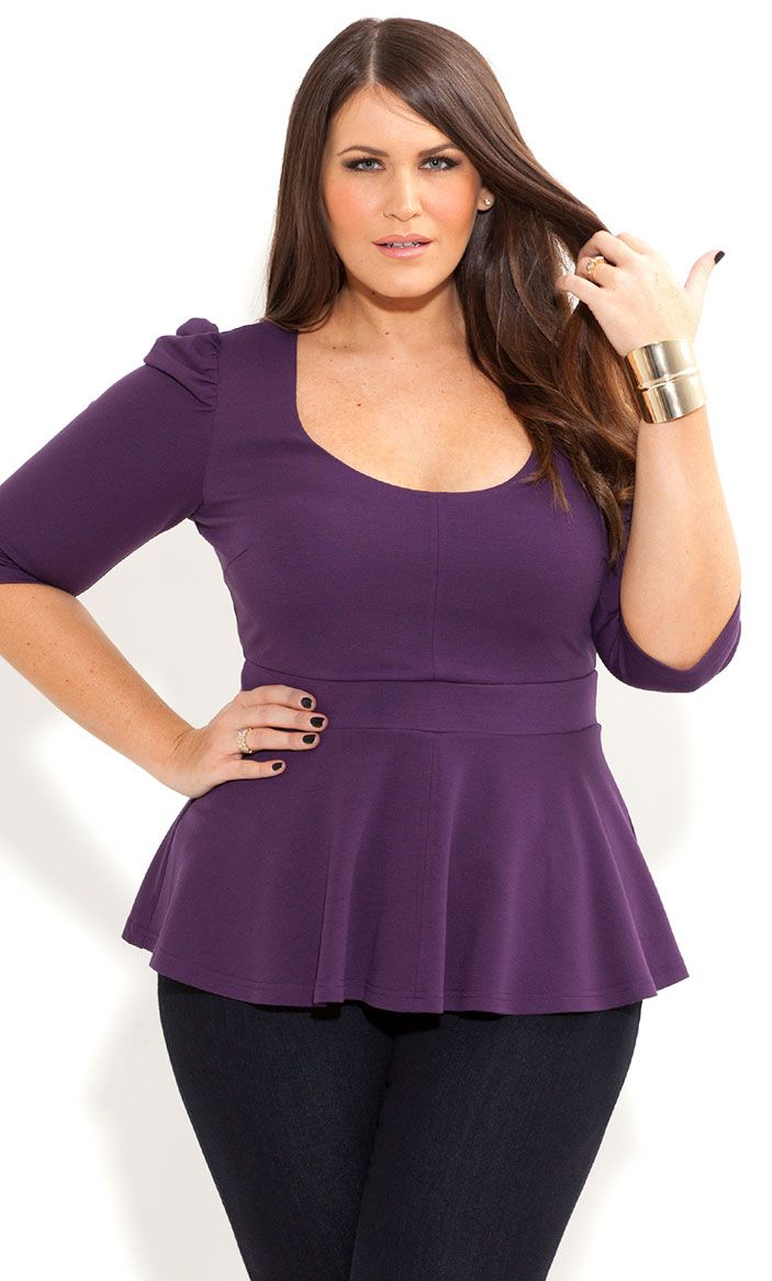 8d26e3b9a City Chic - ¾ SLEEVE PEPLUM TOP - Women s plus size fashion
