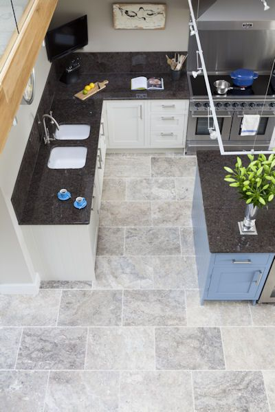 Silver Tumbled Travertine Tile In 2019 Floors Kitchen Flooring