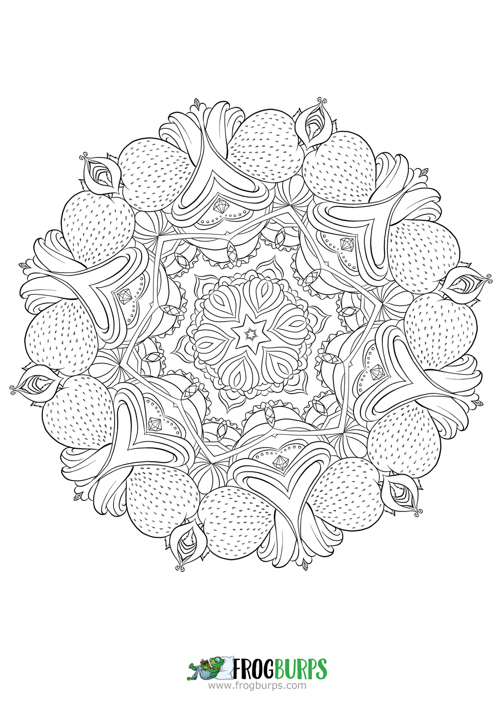 strawberry mandala coloring page frogburps coloring pages