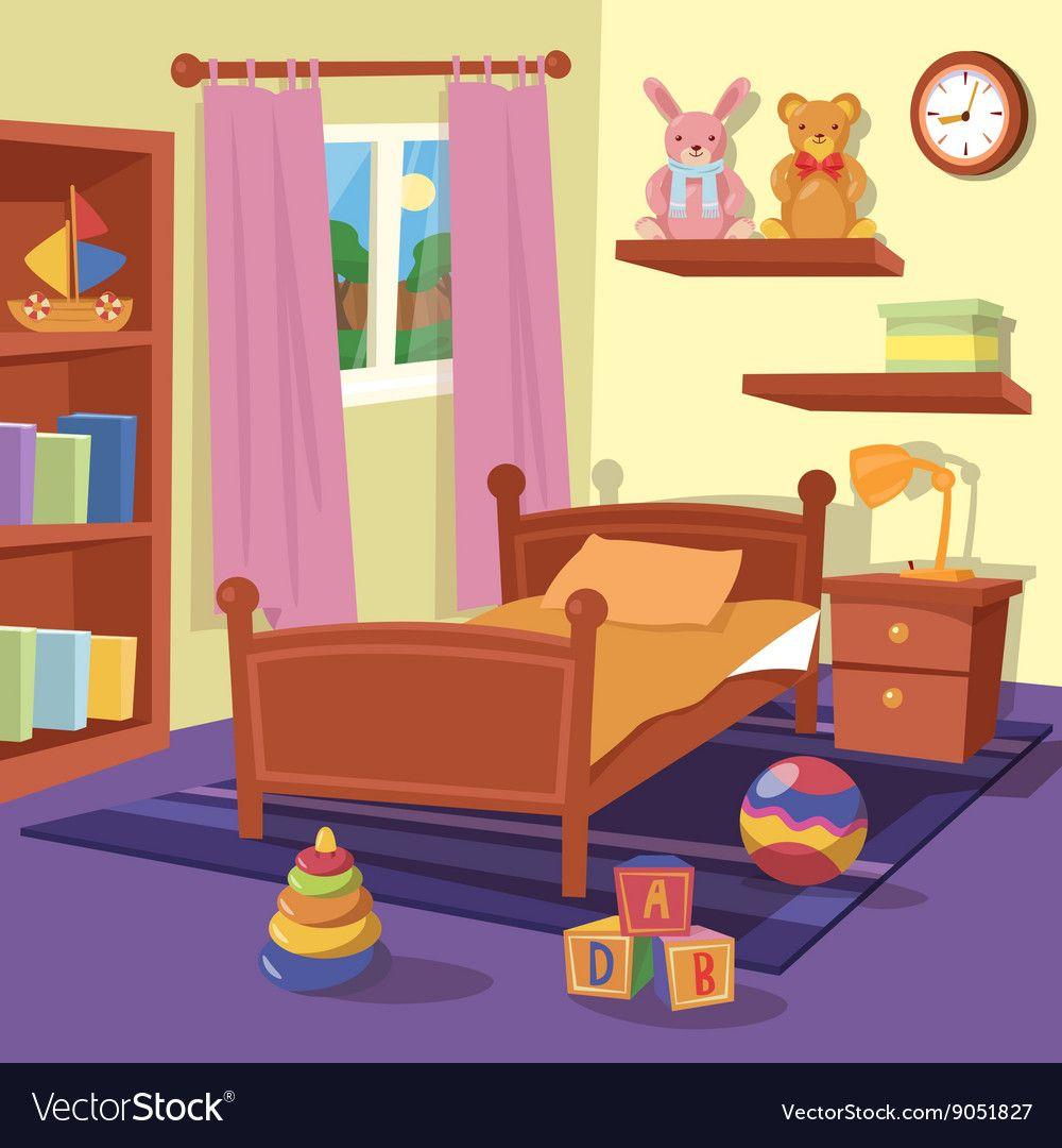 Children Bedroom Interior Children Room Vector Image On V 2020 G