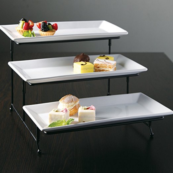 3 Tier Rectangular Serving Platter Three Tiered Cake Tray Stand Food Server Display Plate Rack White 23 Usd From Ama Cake Stand Ceramic Metal Rack Dining
