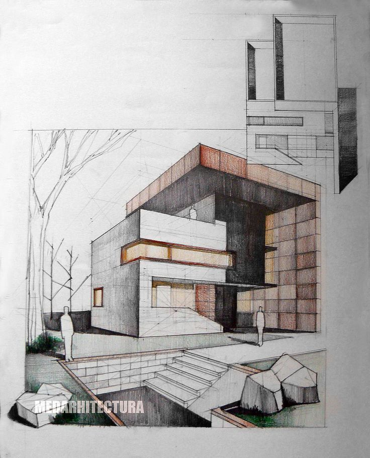 Modern Architecture Sketches contemporary house, pencil + colored crayons | arch-student