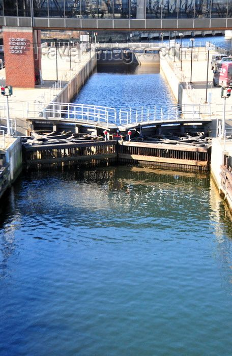 Charles River dam and locks which allow travel into Boston Harbor.