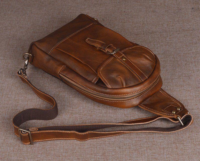 93070a3495 Handmade Men s Leather Messenger Outdoor Chest Bag Men Sling Shoulder Bag  in Dark Brown 14132
