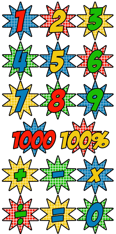 Super Hero Wall Numbers 0 100 Calendar Numbers Math Symbols Clip Art Superhero Classroom Symbols Calendar Numbers