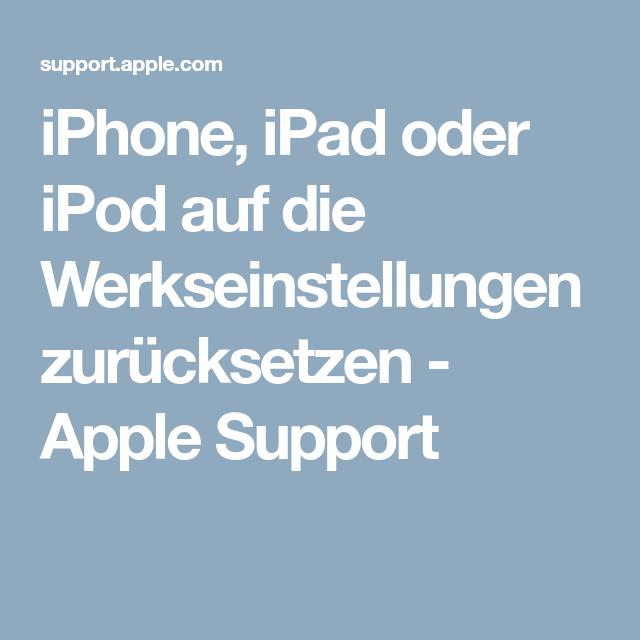 iphone auf werkseinstellung zurücksetzten