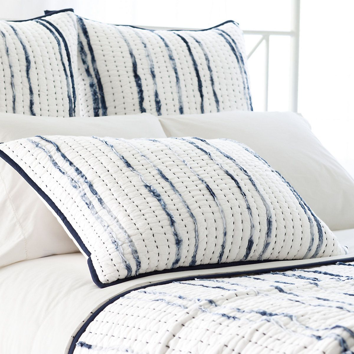 Draftsman Quilted Sham Pine Cone Hill Beige Bed Linen Blue
