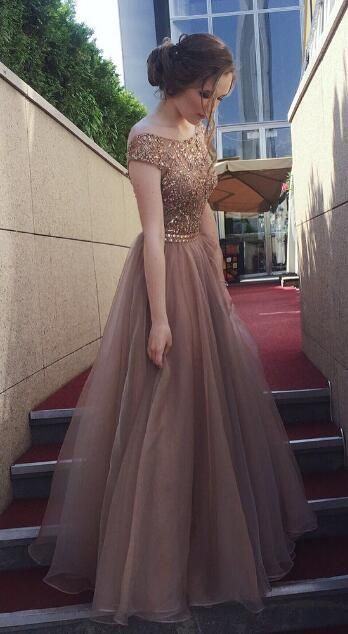 Gorgeous Beaded Cap Sleeves Brown Long Prom Dress from modsele ...