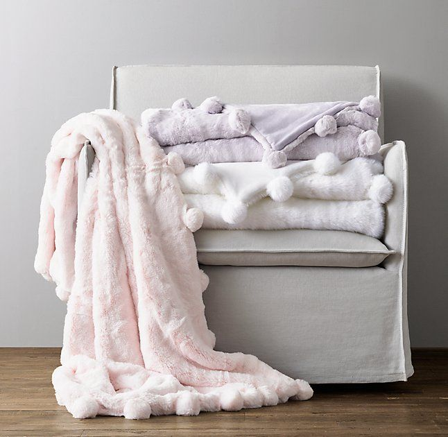 Luxe Faux Fur Pom Pom Throw Bed Throws Fluffy Blankets Cozy Blankets
