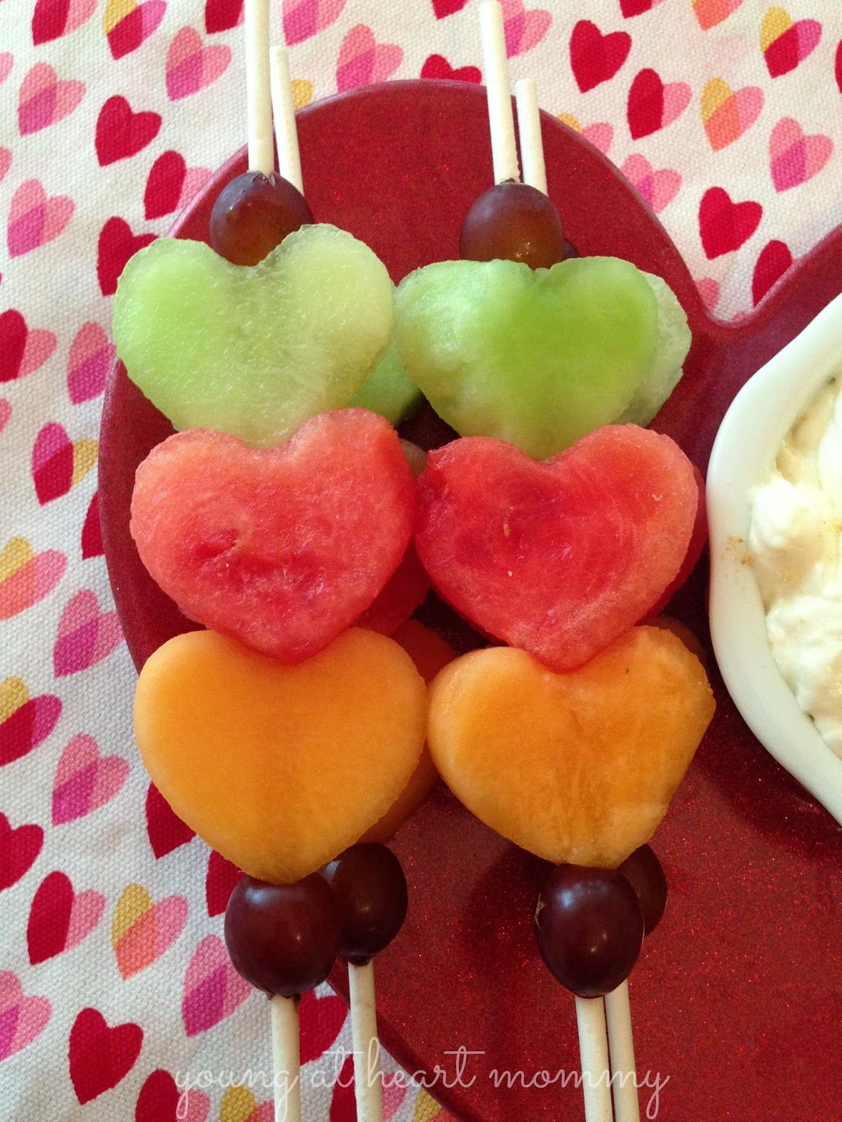 Last-minute lunch box treats for Valentine's Day: Valentine Fruit Kabobs   Young at Heart Mommy