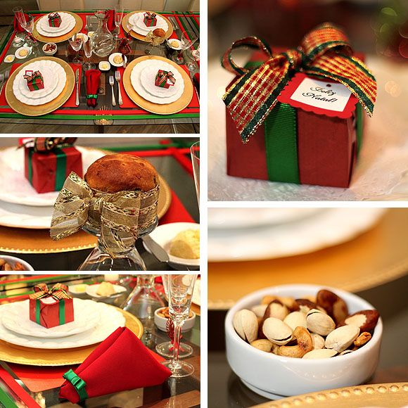 Mesa de Natal decoraç u00e3o simples e barata nas tradicionais cores verde e vermelha Merry  -> Decoração De Natal Simples E Barata Para Mesa