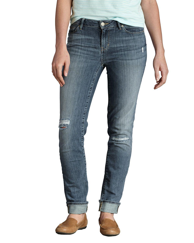 Women's Elysian Destroyed Slim Straight Jeans Eddie
