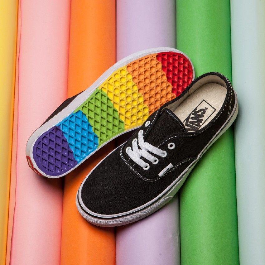 Authentic Black Rainbow Sole Shoes $51