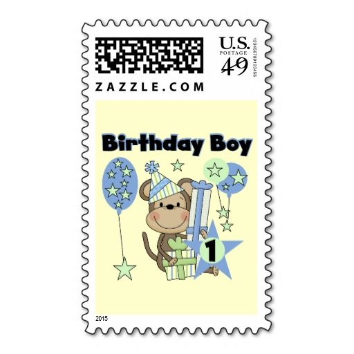 Boy Monkey With Gifts 1st Birthday Postage Stamps