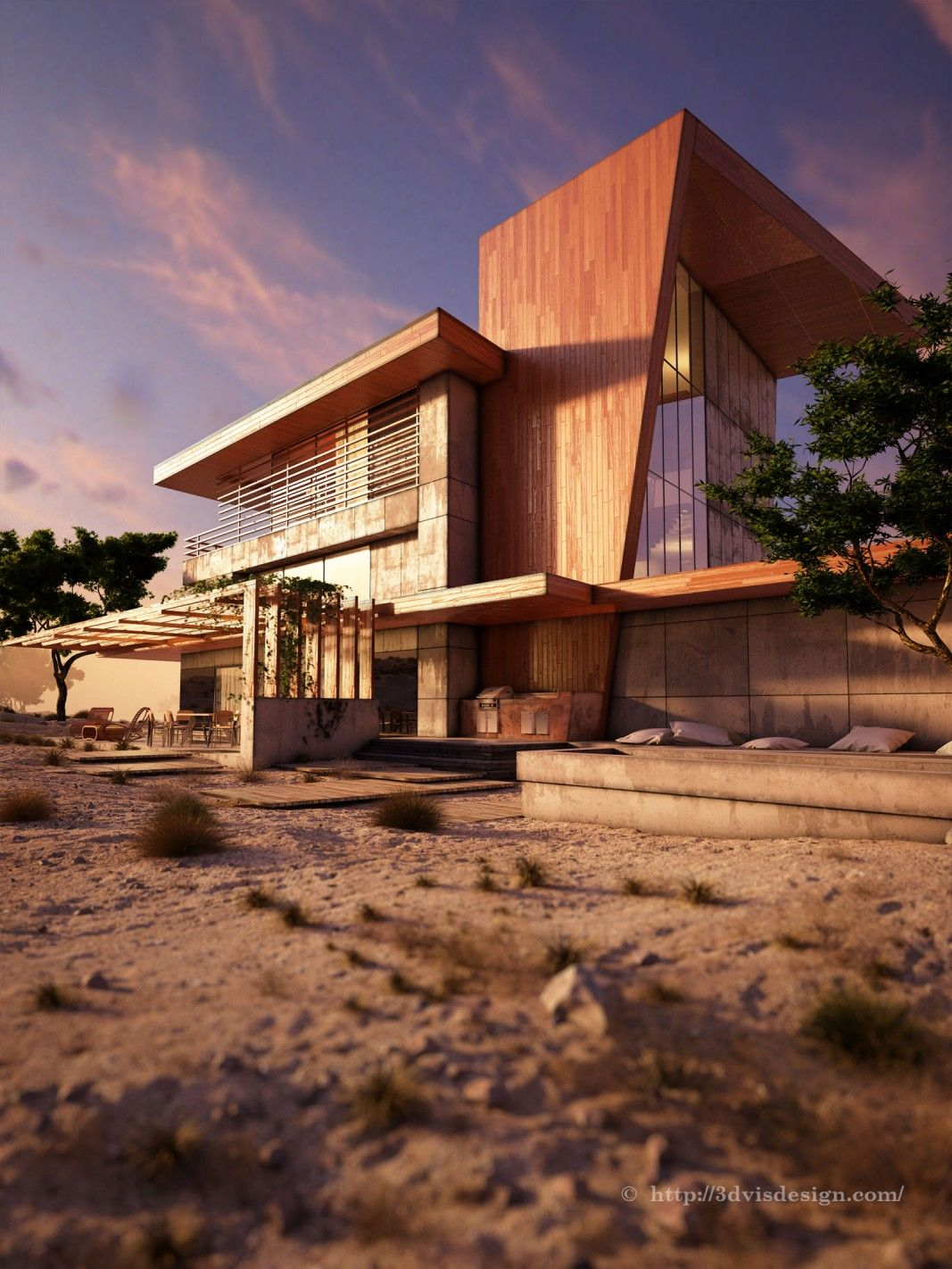 design architectural visualization  rendering exterior desert rose competition project also rh pinterest