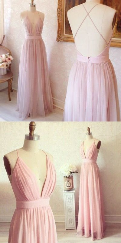 Simple A-line V-neck Long Pink Prom Dress with Criss Cross Back Prom ...