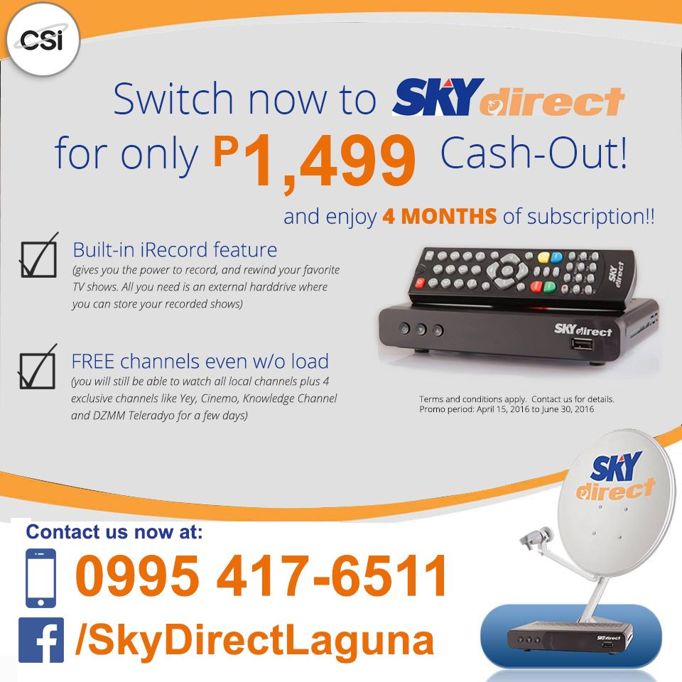 Enjoy Sky Direct\'s SWITCHER\'S PROMO for as low as Php 1,499 cash-out ...