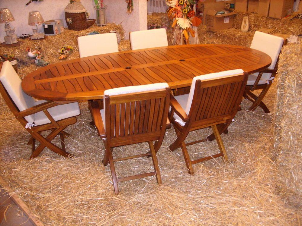 Tavolo pranzo e 6 sedie per arredo da giardino terrazzo in legno di teak terrazzo - Tavoli in legno usati ...