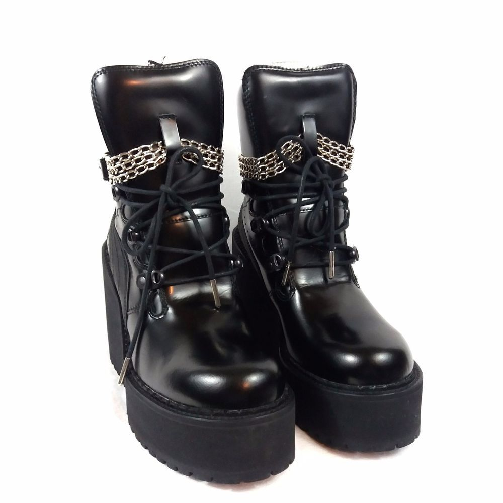 huge selection of 20ac1 89271 Fenty Puma by Rihanna Leather Wedge Chain Ankle Boots Black ...