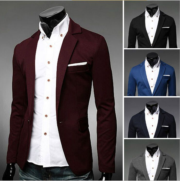 One Button Men Fashion Slim Fit Blazer Jacket