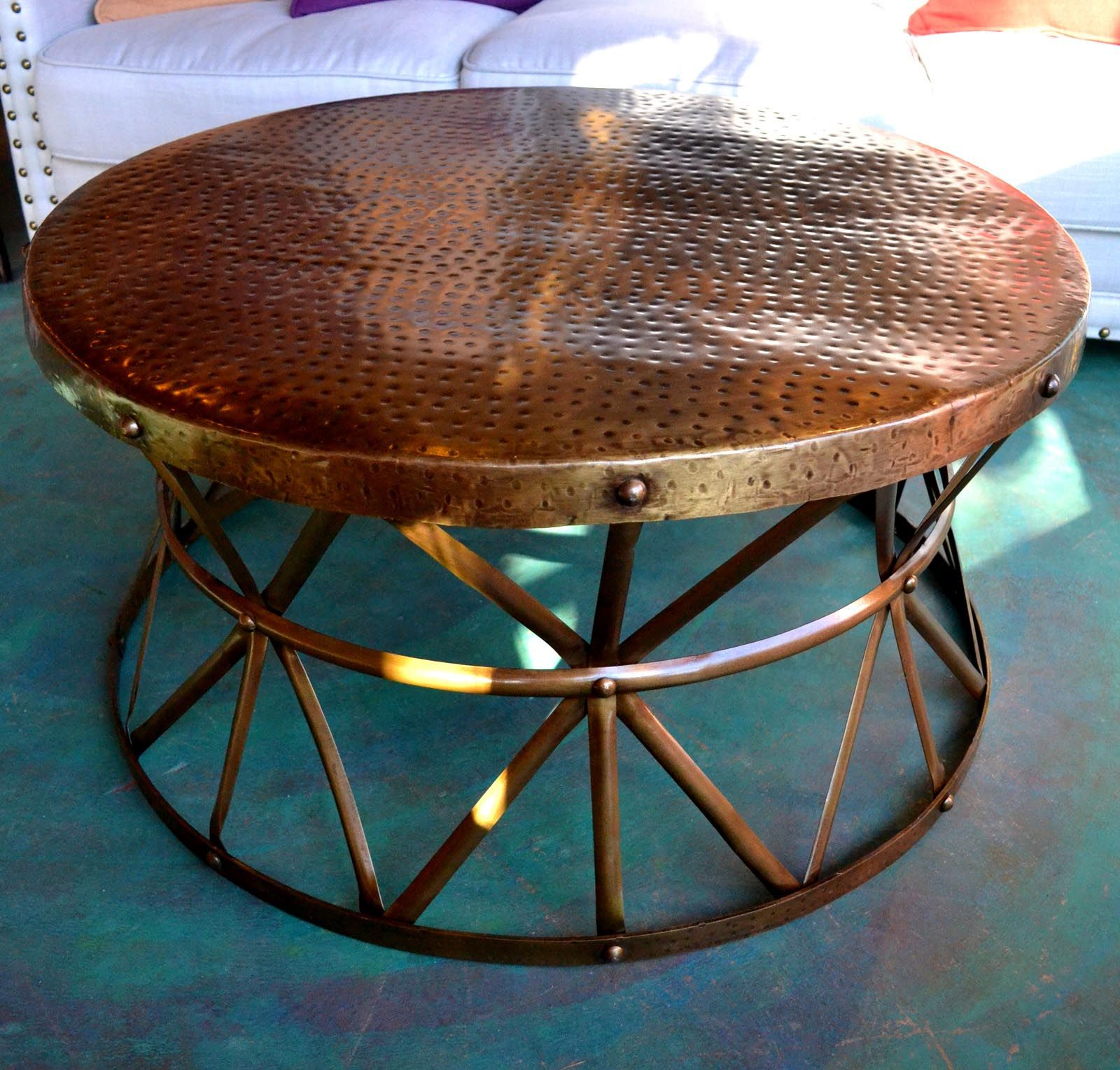 "Jatex Copper 42"" x 18"" Round Drum Coffee Table"