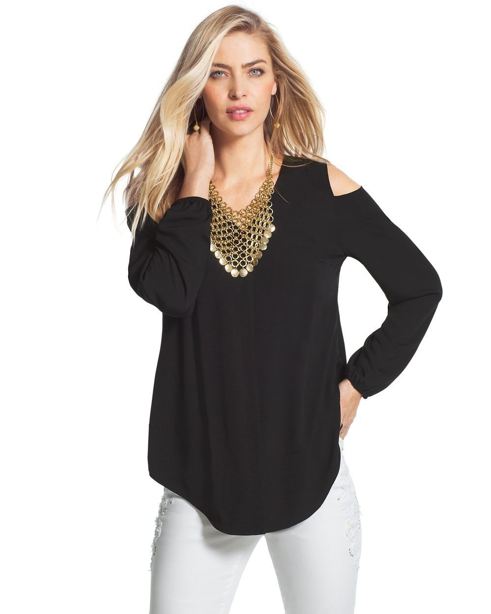 6d558627b2cf27 Chico s Women s Cold Shoulder Blouse