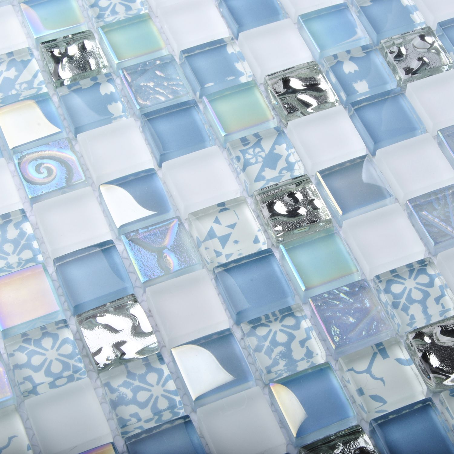 - TST Crystal Glass Tiles Blue Iridescent Mosaic Interior Crackle