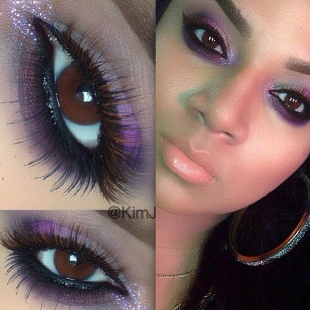 """Pretty purple smokey eyes by @Kim Jones  love how our """"Jennifer"""" mink/fox eyelashes blends so perfectly with her look"""