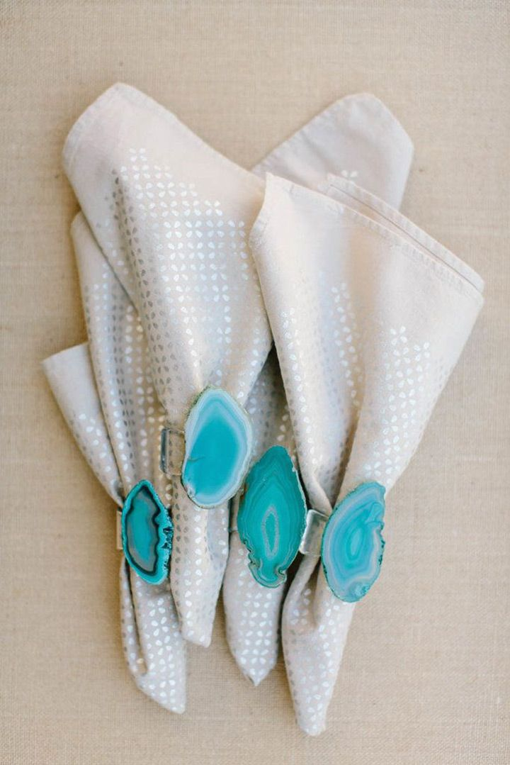 Agate Geode Wedding Ideas Wedding napkin rings Wedding napkins