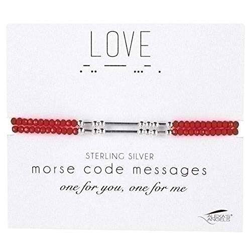 Alexas Angels 7 Morse Code Adult Bracelet Love Carded Sterling