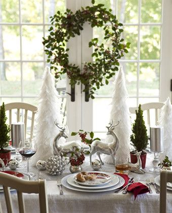3 Ideas for Decorating a Holiday/Christmas Dining Table This one is